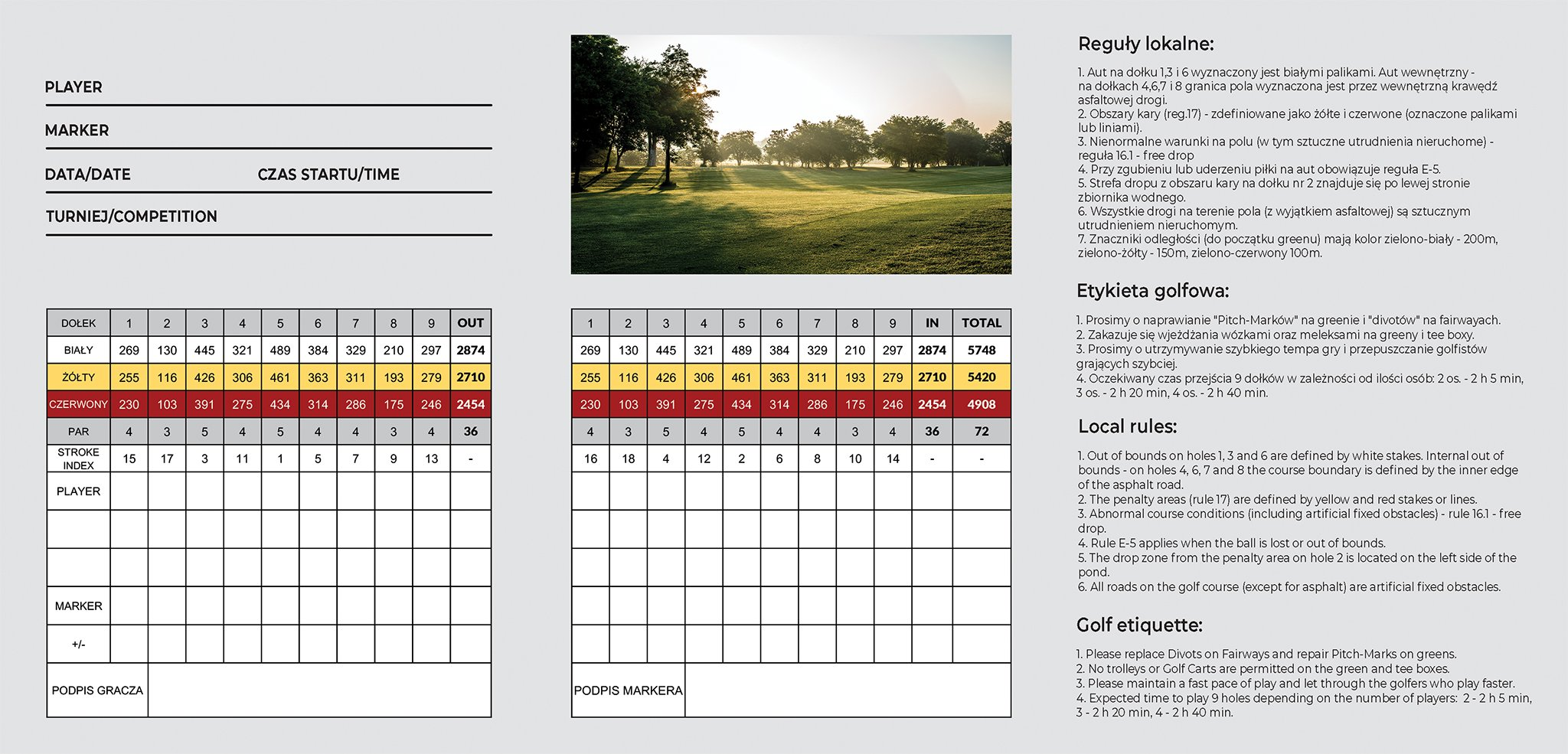 Scorecard Karolinka Golf Park